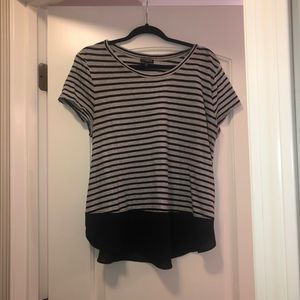Gray and white express top